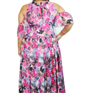 Fussion Wear Cold shoulder maxi dress (Multicolour)