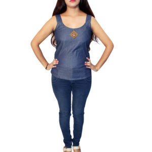 Girls casual wear Denim Top ( navy blue)