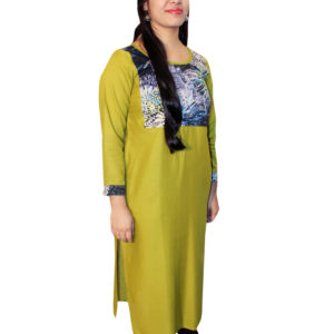 Women Straight Kurti (Parrot Green)