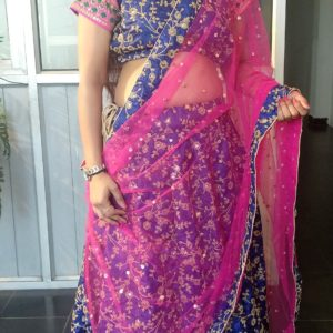 Women  Pretty Embroided Lehanga set (Pink, blue and golden)
